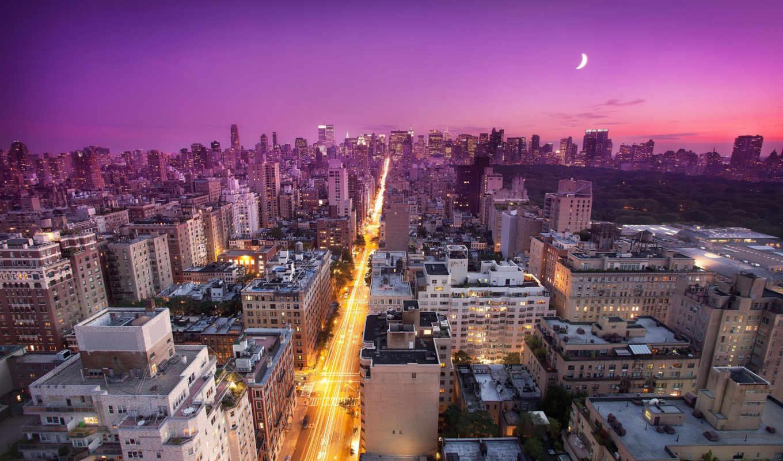 new, york, закат, nyc, usa, нью, восток, side, луна,