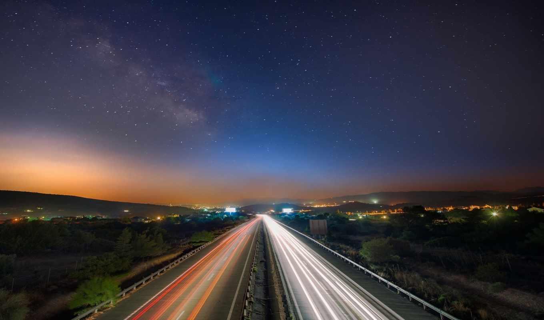 дорога, ночь, движение, небо, взгляд, желтая, звезды,