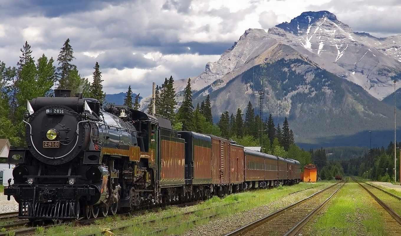локомотив, поезд, горы, гора, небо, park, national, качество, высокое,