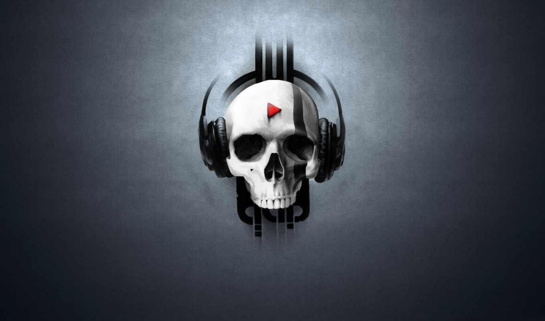 skull, music, наушники, headphones, play, with, share,