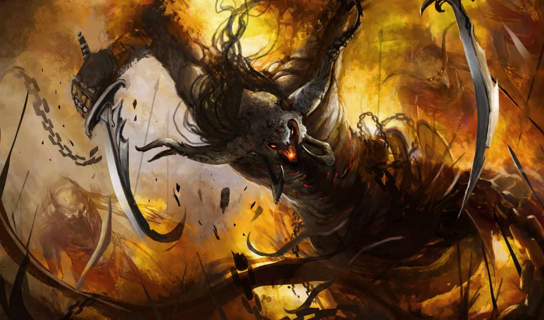 демон, рога, арт, огонь, монстр, цепь, ярость, оружие,
