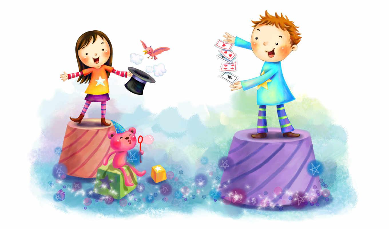 нарисованные, дети, девочка, мальчик, медвежонок, фокус, птица, тумба, куб, пузыри, конус, цилиндр, карты