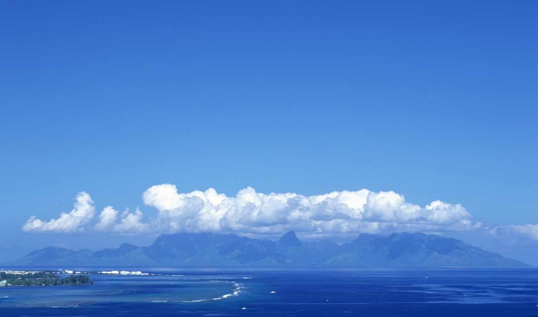 небо, море, красивое, заставка, остров,