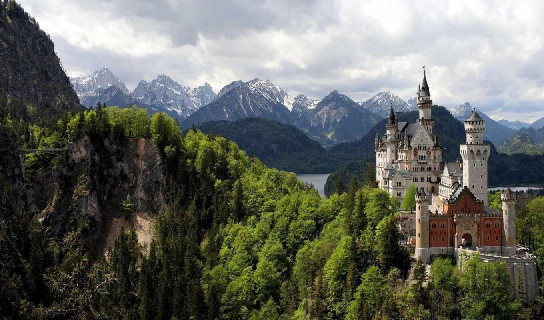 замок, горы, замки, красивые, башни, скалы, природа, разделе,