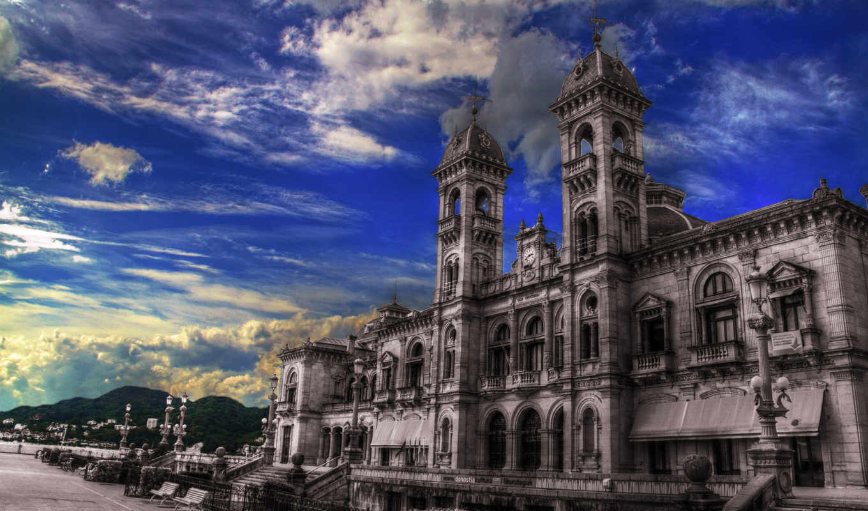 испания, города, туры, дома, небо, себастьян, san, oblaka, картинка, basque, donostia,