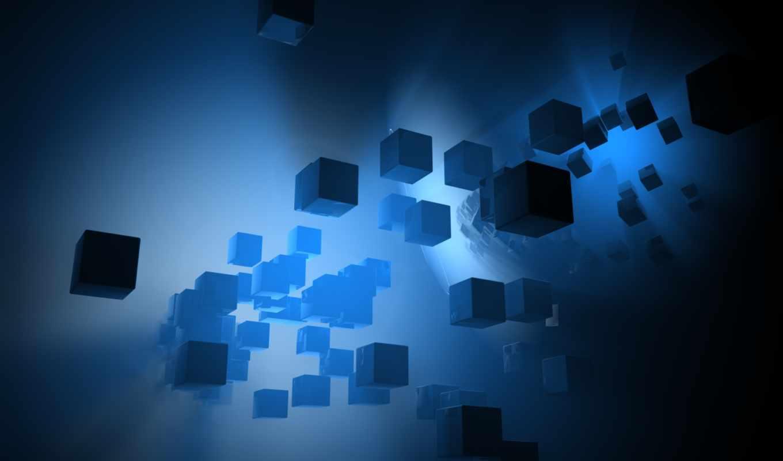 синих, тонах, абстрактные, кубики, фоны, заставки,