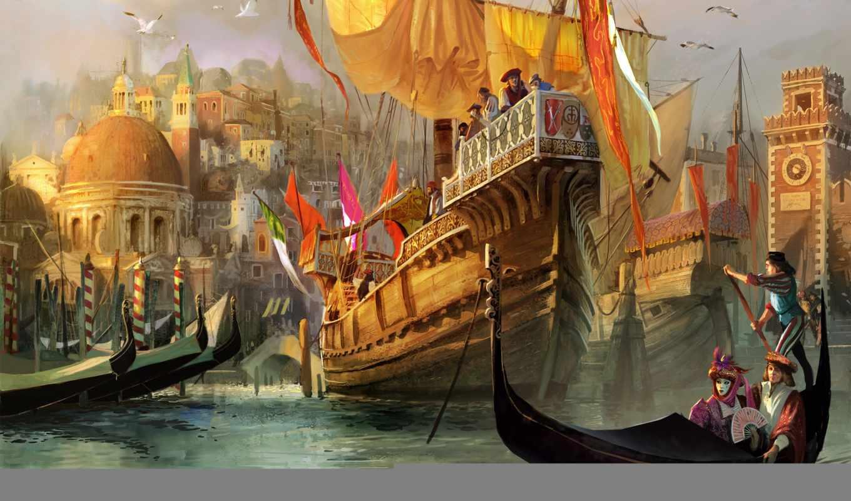 desktop, from, games, игры, photo, venice, фэнтези, photos, fantasy, порт, флаги, обою, земель, anno, ведьмак, далеких, открытие,