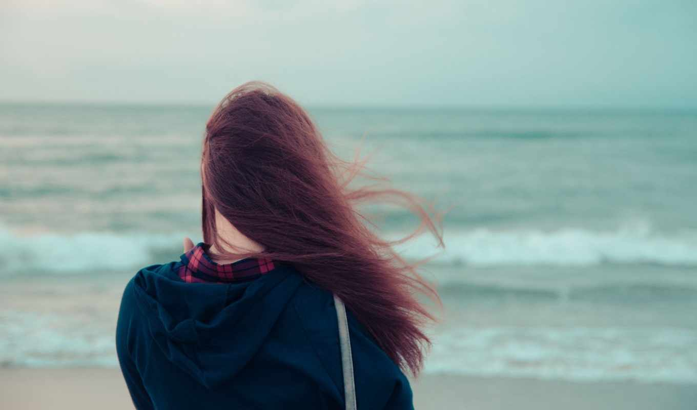 девушка, фокус, море, пляж, ветер, волосы