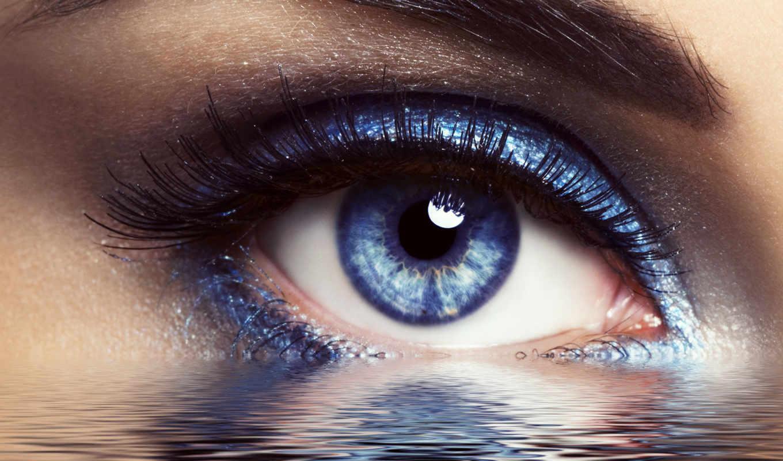глаз, глаза, голубых, плачущий, макияж, женский,