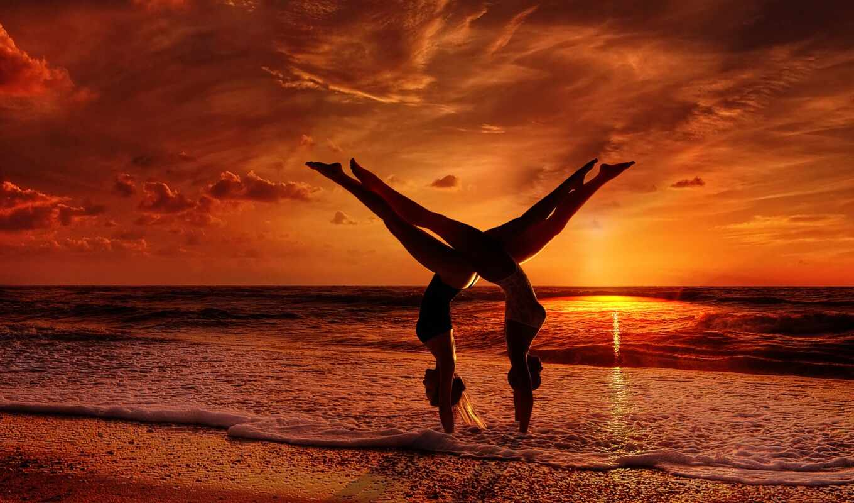 йога, пара, поза, asana, partner