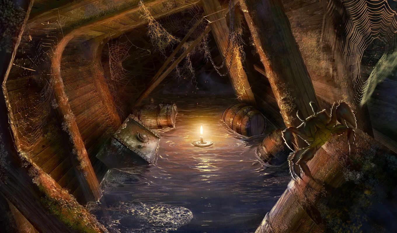 обои, пираты, корабль, бочки, сундуки, трюм, свеча
