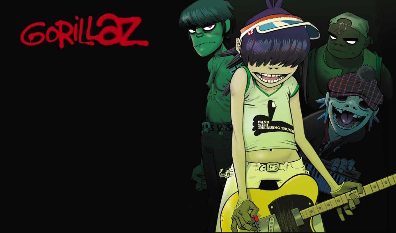 gorillaz, гитара, мердок, ди, стиль, music, wallpapers, музыка, картинка,
