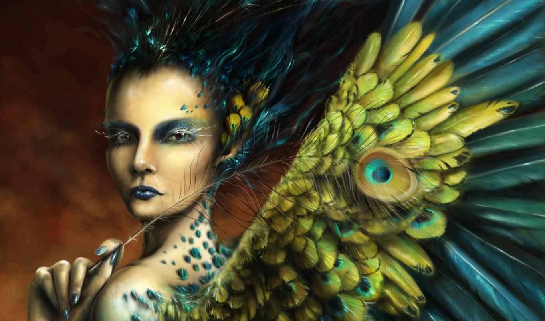 девушка, перья, часть, сверхсущества, птица, крылья, фэнтези, картинка, изображение, save, макияж, правой, кнопкой, скачивания, ней, картинку, мыши, разрешением, выберите,