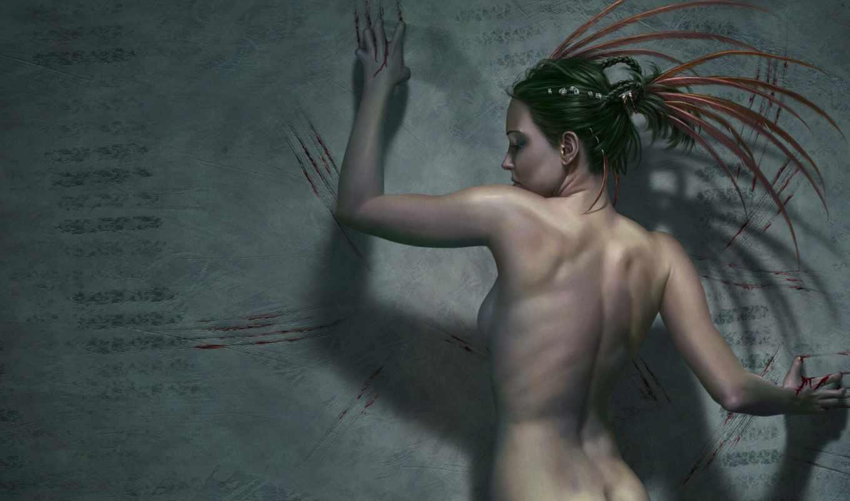 обнаженная, спина, девушки, девушка, кровь, загрузка,