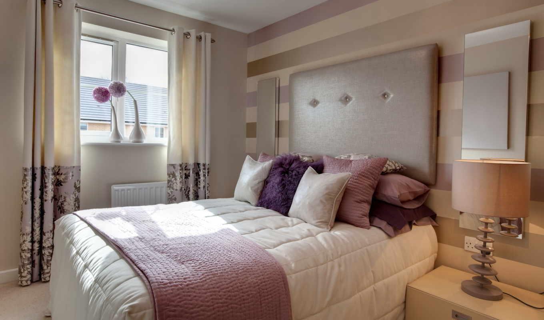 спальня, квартиры, лиловых, интерьере, ฮวงจ,