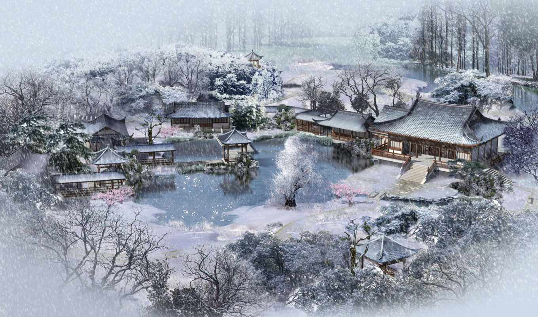 winter, зимы, пруд, деревне, начало, краю, ок, one, широкоформатные, снег, rock, зимой,