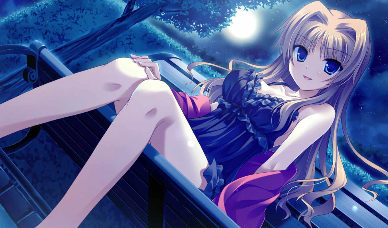 anime, платье, девушка, глаза, голубые, отметки, за, девушки,