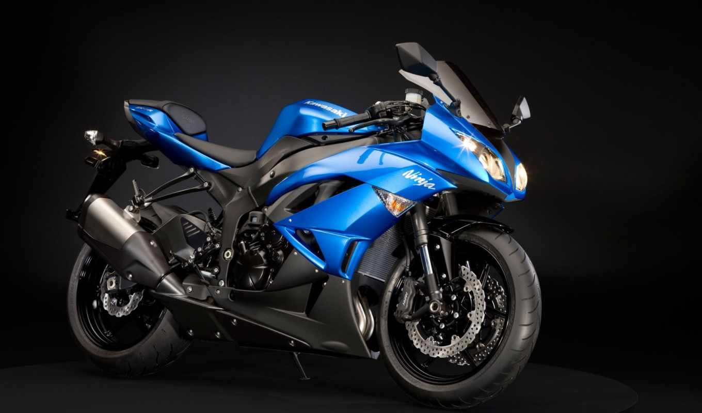ninja, zx, kawasaki, blue, обои, wallpaper, мотоци