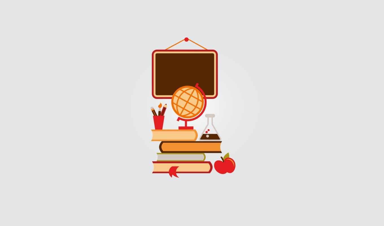 центр, карандаш, глобус, доска, закладка, кисть, школа, яблоко, книги, учебники, пробирка, illustration, theme, vctor, back,