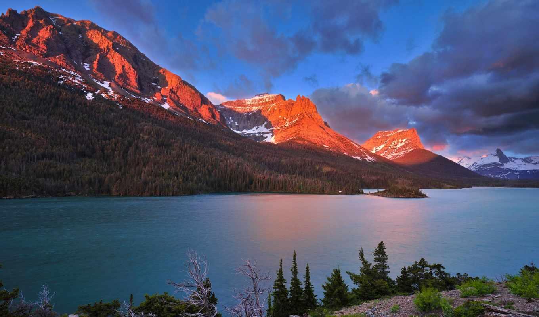 озера, лес, горы, свет, канада, картинка, картинку, природы, nature, mountains, уголками, прекрасными,