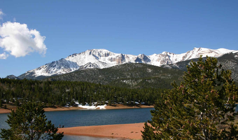 природа, горы, красивые, главная, pikes, peak,