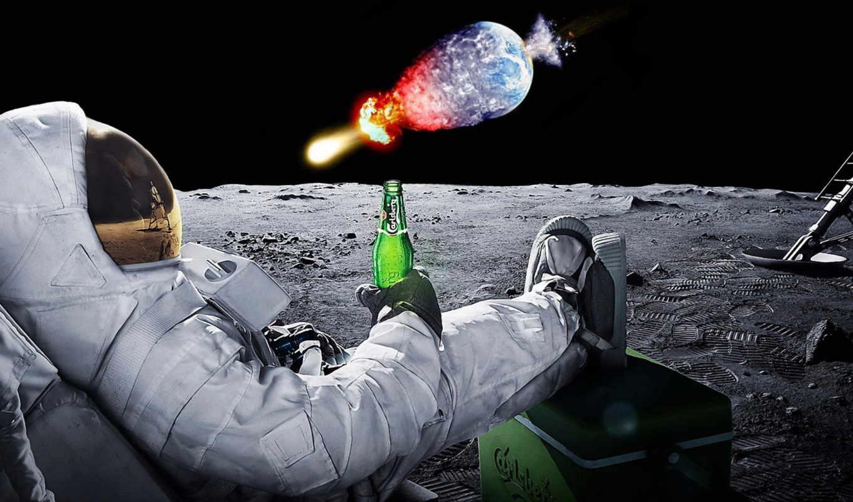 луна, широкоформатные, пиво, космос, астронавт, land,