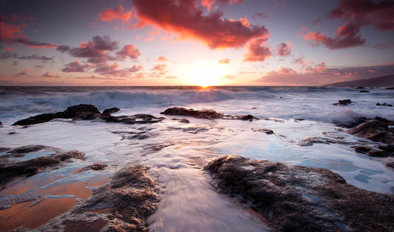 морские, природа, просторы, море, небо, full, облака, закат,