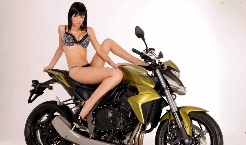 девушка, мотоцикл, мотоциклы, honda, bike,