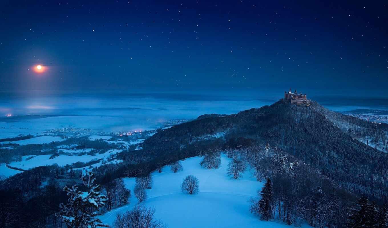 winter, ночь, луна