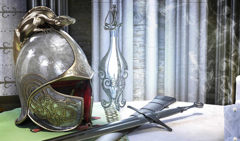 шлем, обои, меч, ronald, tolkien, john, reuel