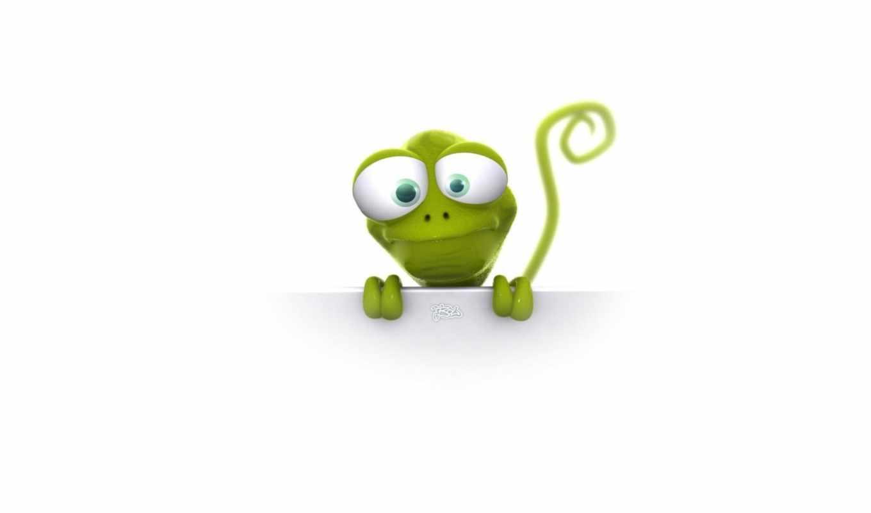 ящерица, animal, зелёная, мультфильм, белый, глаза, большие, alien,