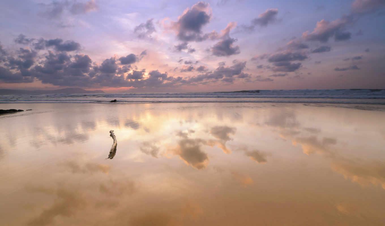 небо, море, берег, облака, отражение, рассвет, картинку, iphone,