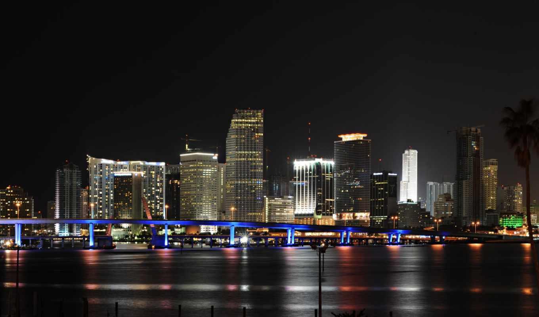 miami, город, панорама, usa, ночь,