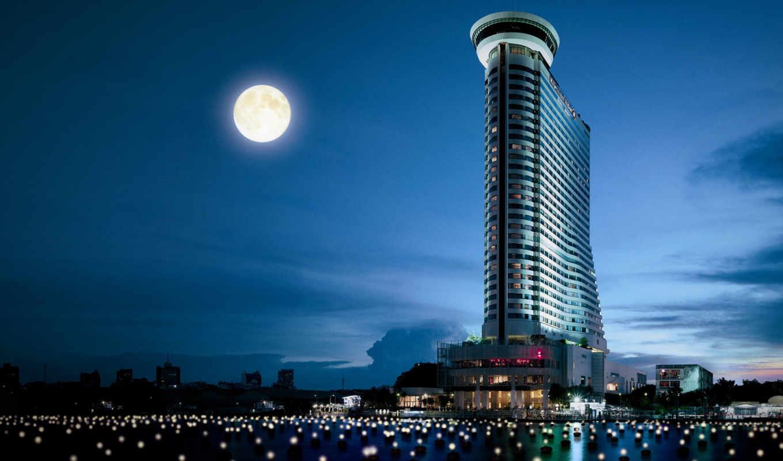 bangkok, высотки, город, ночь, свет, луна, таиланд,
