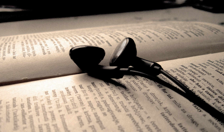обои, книга, наушники, текст, музыка, wallpapers,