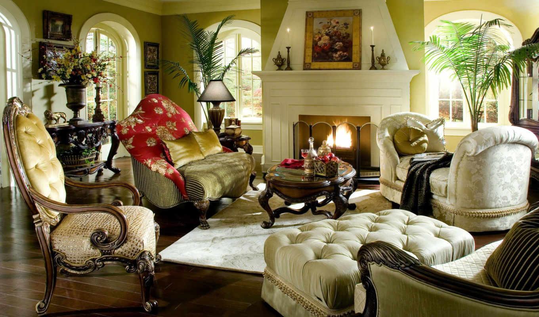 дизайн, комната, интерьер, стиль, диван, камин, огонь, номером, монитора, экрана,