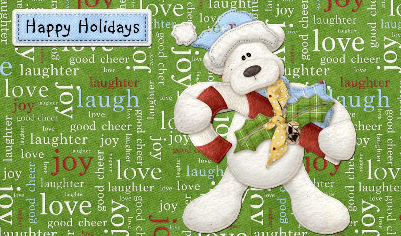 happy, holidays, everyone, праздник, мишка, надписи, скотт,
