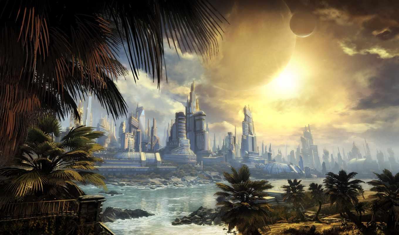 bulletstorm, город, игры, будущее, арт, пальма, небоскребы, речка, games, игра, компьютерные, видео,