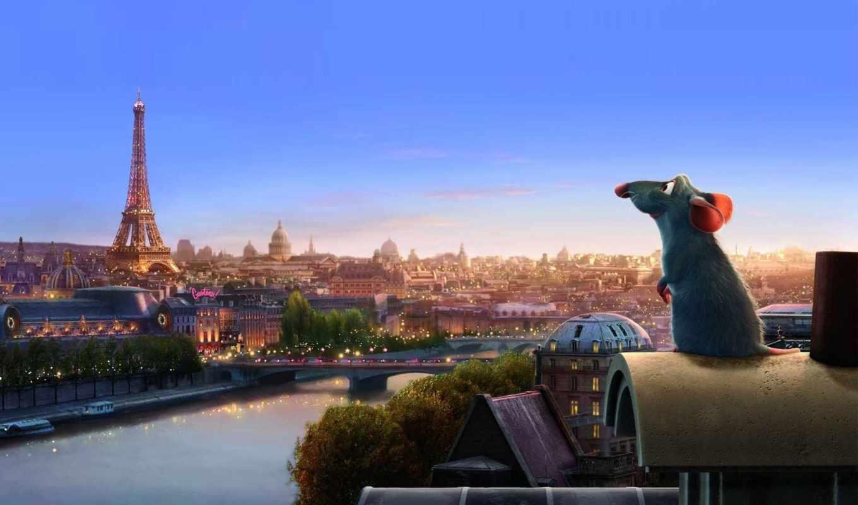 рататуй, cartoon, париж, кб, pixar, башня, франция, disney,