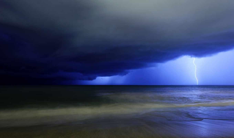 буря, lightning, высоком, качестве, базе, море, тучи,
