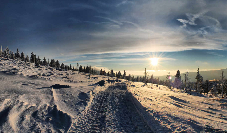 winter, дорога, снег, природа, картинка, иней, landscape, сугробы, небо, елки,