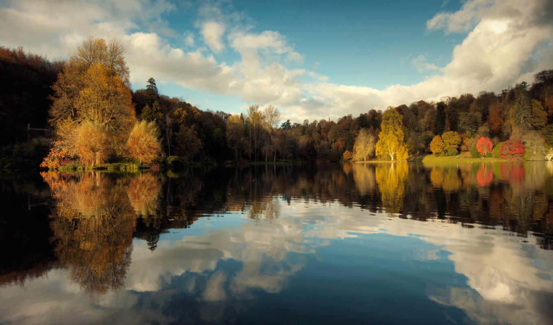 осень, природа, озеро, деревя, лес,