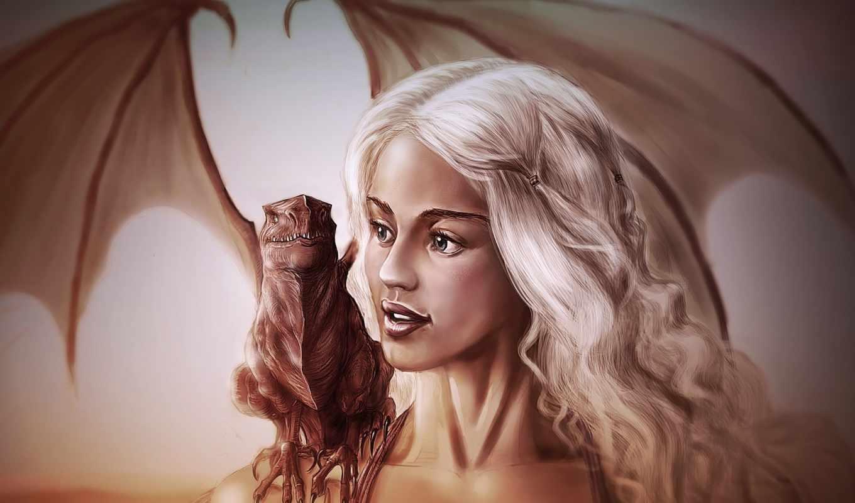 game, престолов, daenerys, targaryen, thrones, дракон, art, emilia, clarke, девушка,