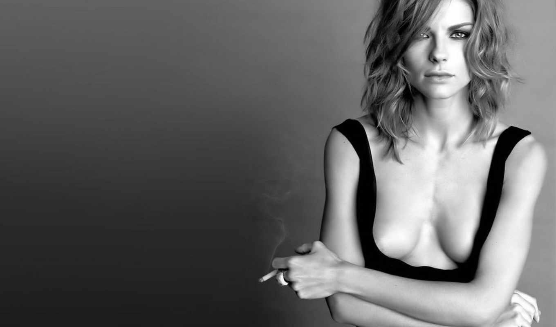 сигаретой, девушка,