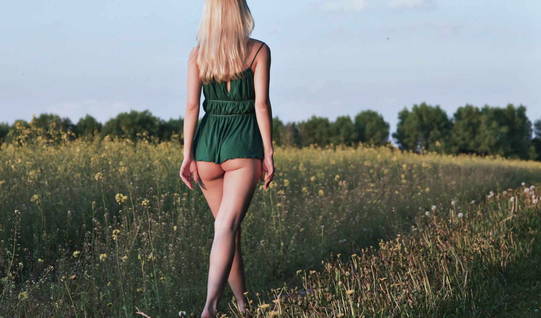девушка, природа, блондинка, ножки,