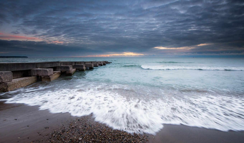 ocean, пляж, волна, небо, desktop, природа,