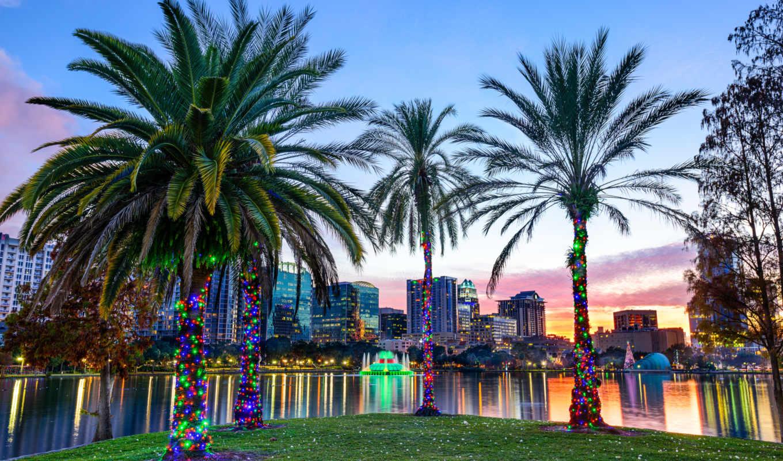 пальмы, озеро, eola, orlando, florida, города, дома, park, сша, город,