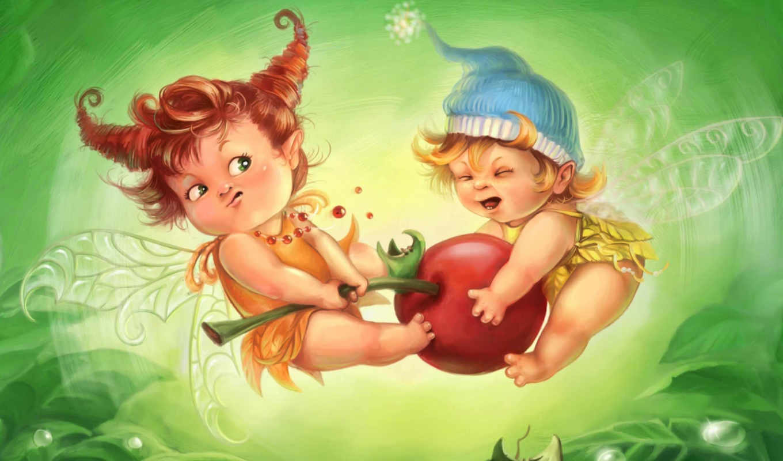 эльфы, малыши, рисунок, wallpaper, борьба, вишня, hd, hadas, картинка, fairy, elfy, ¹û, children, cute,