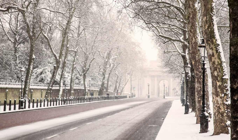 london, winter, дорога, снег, англия, деревья,