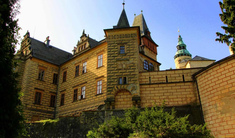 замки, города, чехия, окно, чехии, frуdlant, zamek,